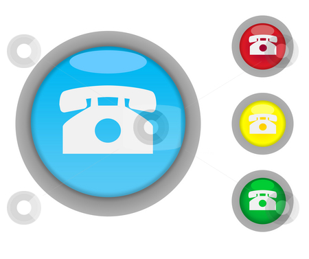 Telephone contact buttons stock photo, Set of four colorful glossy telephone contact button icons with light effect isolated on white background with copy space by Martin Crowdy