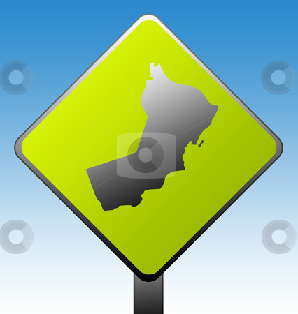 Oman road sign stock photo, Oman green diamond shaped road sign with gradient blue sky background. by Martin Crowdy