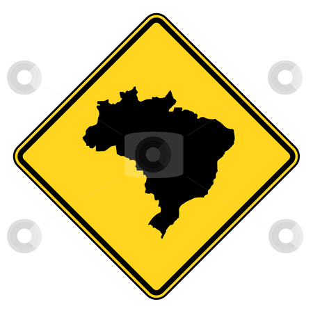 Brazil road sign stock photo, Brazil map road sign in yellow, isolated on white background. by Martin Crowdy