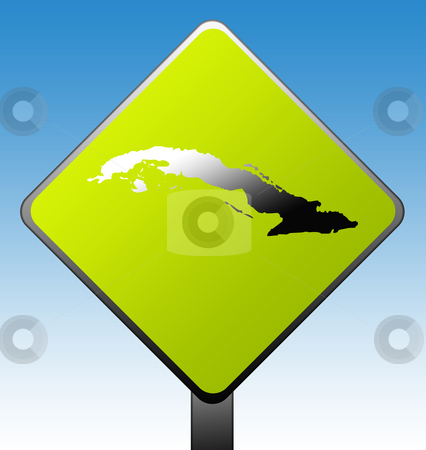Cuba road sign stock photo, Cuba map on green diamond shaped road sign with gradient blue sky background. by Martin Crowdy