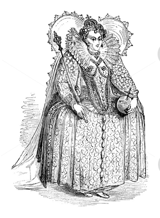 Queen Elizabeth I stock photo, Engraving of Queen Elizabeth I at age of 55, isolated on white background, Sourced from book by Charles Knight,
