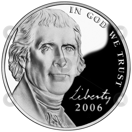 Thomas Jefferson Nickel stock photo, United States or American Nickel with face of President Thomas Jefferson isolated on white background. Coin exempt from copyright as design in public domain. by Martin Crowdy