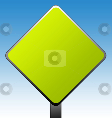 Blank green sign stock photo, Green diamond shaped road sign with gradient blue sky background. by Martin Crowdy