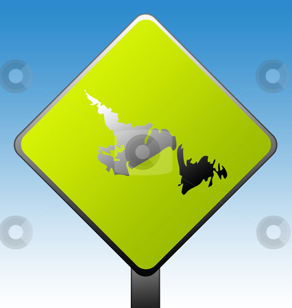 Newfoundland province road sign stock photo, Newfoundland province of Canada map green diamond shaped road sign with gradient blue sky background. by Martin Crowdy