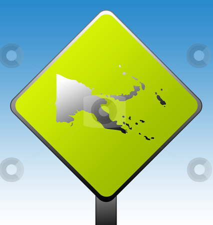 Papa New Guinea road sign stock photo, Papa New Guinea green diamond shaped road sign with gradient blue sky background. by Martin Crowdy