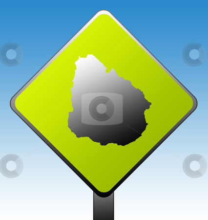 Uruguay road sign stock photo, Uruguay map on green diamond shaped road sign with gradient blue sky background. by Martin Crowdy