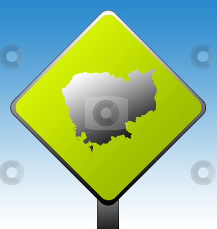 Cambodia road sign stock photo, Cambodia map green diamond shaped road sign with gradient blue sky background. by Martin Crowdy