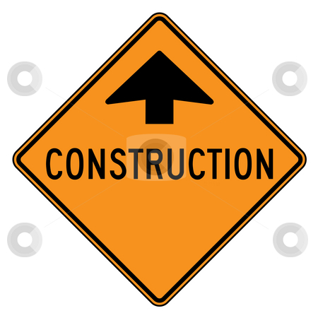 Construction sign stock photo, Construction ahead sign isolated on a white background. by Martin Crowdy