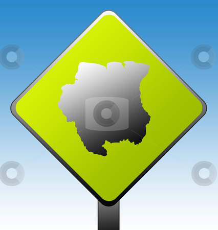 Suriname road sign stock photo, Suriname map on green diamond shaped road sign with gradient blue sky background. by Martin Crowdy