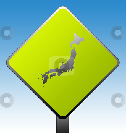Japan road sign stock photo, Japan green diamond shaped road sign with gradient blue sky background. by Martin Crowdy