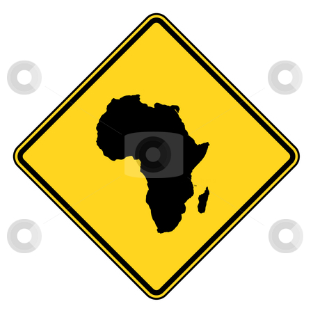 Africa road sign stock photo, Afrtican continent yellow diamond shaped road sign isolated on white background. by Martin Crowdy