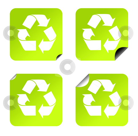 Recycling stickers stock photo, Green eco recycling stickers or buttons, isolated on white background. by Martin Crowdy