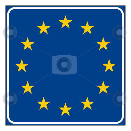 European Union road sign stock photo, European Union road sign with copy space, isolated on white background. by Martin Crowdy