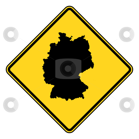 Germany road sign stock photo, Germany map road sign in yellow, isolated on white background. by Martin Crowdy