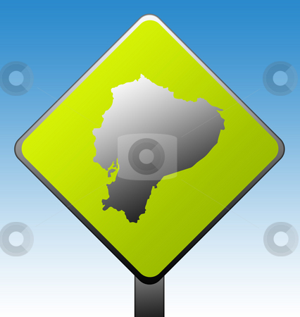 Ecuador road sign stock photo, Ecuador map on green diamond shaped road sign with gradient blue sky background. by Martin Crowdy