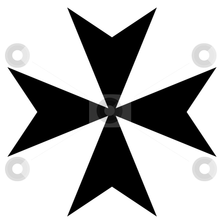 Maltese Cross stock photo, Black silhouetted Maltese cross, isolated on white background. by Martin Crowdy