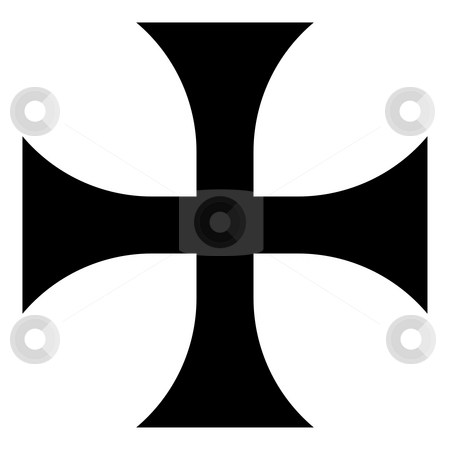 Greek Cross stock photo, Black silhouetted Greek religious cross isolated on white background. by Martin Crowdy
