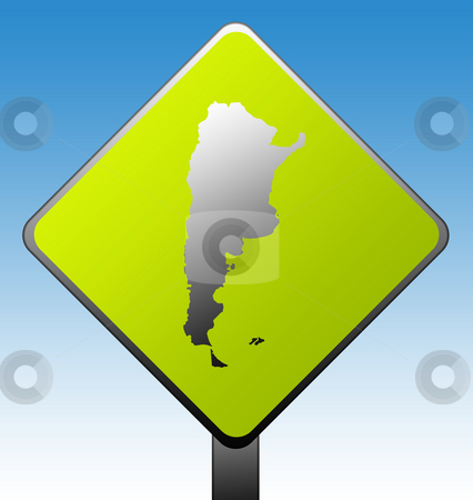 Argentina road sign stock photo, Argentina map on green diamond shaped road sign with gradient blue sky background. by Martin Crowdy
