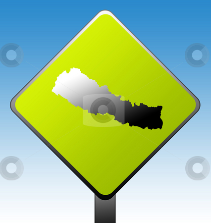Nepal road sign stock photo, Nepal green diamond shaped road sign with gradient blue sky background. by Martin Crowdy