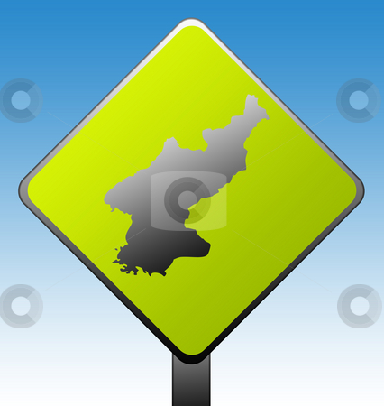 North Korea road sign stock photo, North Korea green diamond shaped road sign with gradient blue sky background. by Martin Crowdy