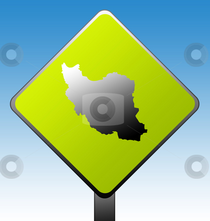 Iran road sign stock photo, Iran green diamond shaped road sign with gradient blue sky background. by Martin Crowdy