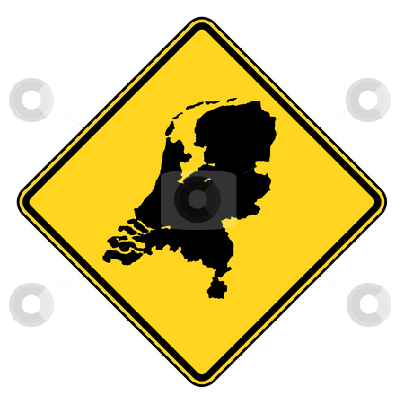 Natherlands road sign stock photo, Netherlands or Holland map road sign in yellow, isolated on white background. by Martin Crowdy