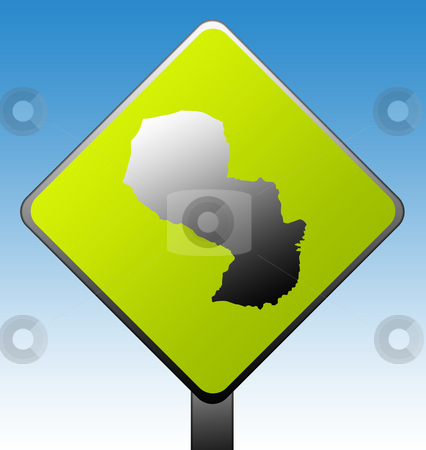 Paraguay road sign stock photo, Paraguay map on green diamond shaped road sign with gradient blue sky background. by Martin Crowdy