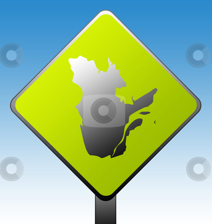 Quebec province road sign stock photo, Quebec province of Canada map green diamond shaped road sign with gradient blue sky background. by Martin Crowdy