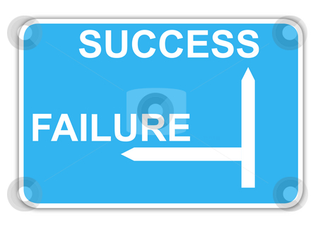 Success and failure highway sign stock photo, Success and failure blue highway sign with copy space, isolated on white background. by Martin Crowdy