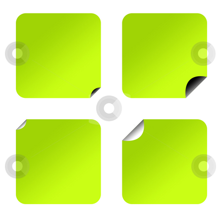 Blank green eco stickers stock photo, Blank green eco stickers or coupons, isolated on white background. by Martin Crowdy