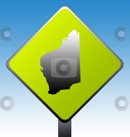 Western Australia road sign stock photo, Western Australia green diamond shaped road sign with gradient blue sky background. by Martin Crowdy