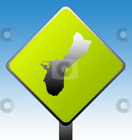 Guam road sign stock photo, Guam green diamond shaped road sign with gradient blue sky background. by Martin Crowdy