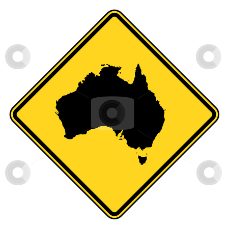 Australia road sign stock photo, Canada map road sign in yellow, isolated on white background. by Martin Crowdy