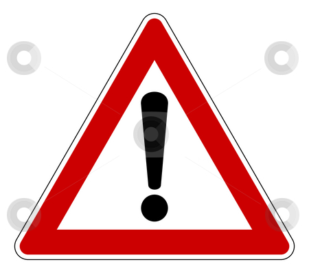 Triangle warning sign stock photo, Red traffic triangle warning sign, isolated on white background. by Martin Crowdy