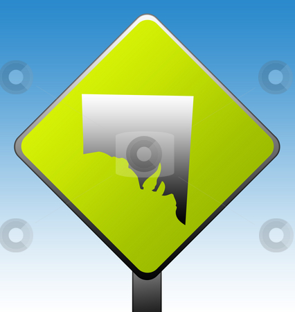 Southern Australia road sign stock photo, Southern Australia green diamond shaped road sign with gradient blue sky background. by Martin Crowdy
