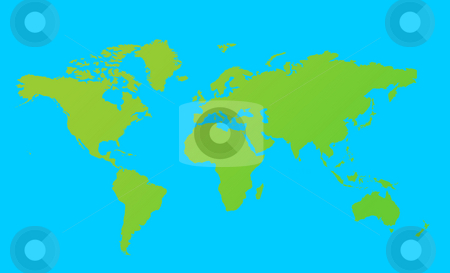 World map stock photo, World map in green, isolated on blue background. by Martin Crowdy