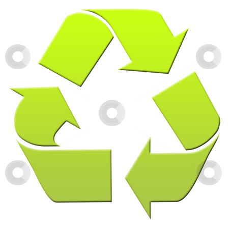 Green recyling symbol stock photo, Green recycling symbol isolated on white background. by Martin Crowdy