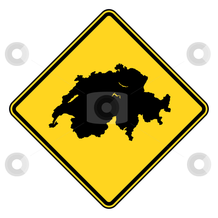 Switzerland road sign stock photo, Switzerland map road in yellow, isolated on white background. by Martin Crowdy