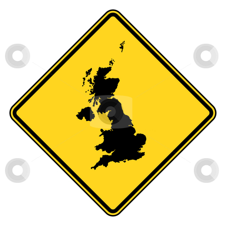 United Kingdom road sign stock photo, United Kingdom yellow diamond shaped road sign isolated on white background. by Martin Crowdy