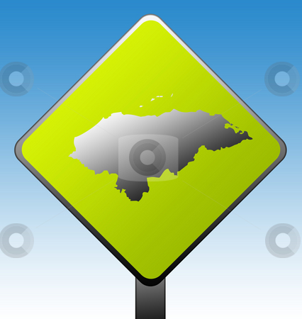 Honduras road sign stock photo, Honduras map on green diamond shaped road sign with gradient blue sky background. by Martin Crowdy