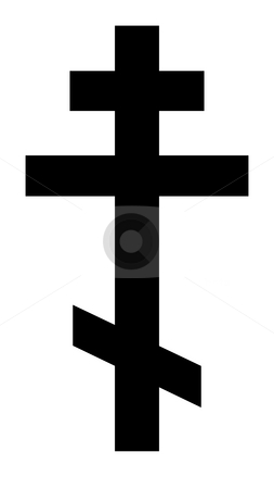 Russian Orthodox Cross stock photo, Black silhouetted Russian orthodox cross isolated on white background. by Martin Crowdy