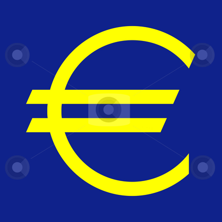 European currency symbol stock photo, European currency symbol on blue background in official color. by Martin Crowdy