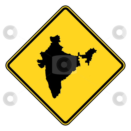 India map road sign stock photo, India map road sign in yellow, isolated on white background. by Martin Crowdy