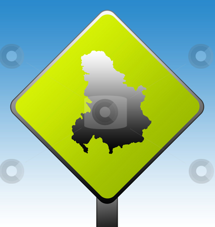 Serbia and Montenegro road sign stock photo, Serbia and Montenegro green diamond shaped road sign with gradient blue sky background. by Martin Crowdy