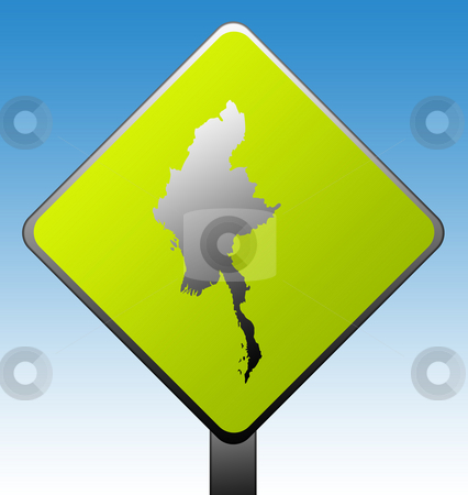 Burma road sign stock photo, Burma or Myanmar green diamond shaped road sign with gradient blue sky background. by Martin Crowdy