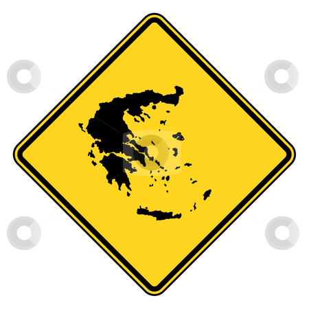 Greece road sign stock photo, Greece map road sign in yellow, isolated on white background. by Martin Crowdy