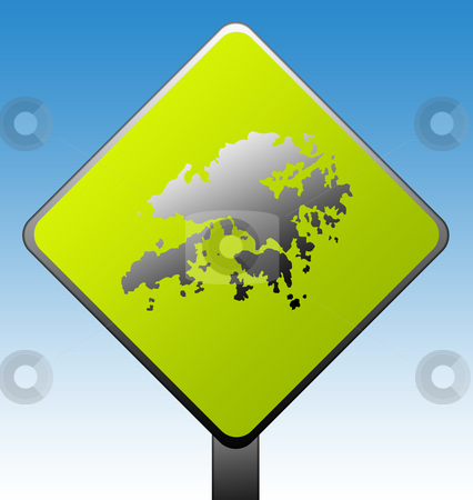 Hong Kong road sign stock photo, Hong Kong green diamond shaped road sign with gradient blue sky background. by Martin Crowdy