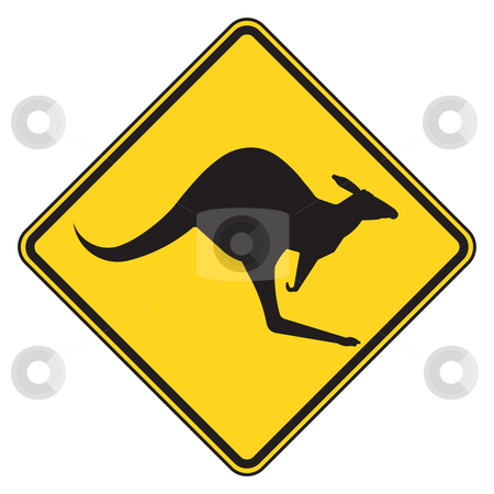 Kangaroo warning sign stock photo, Australian kangaroo crossing warning sign, isolated on white background. by Martin Crowdy