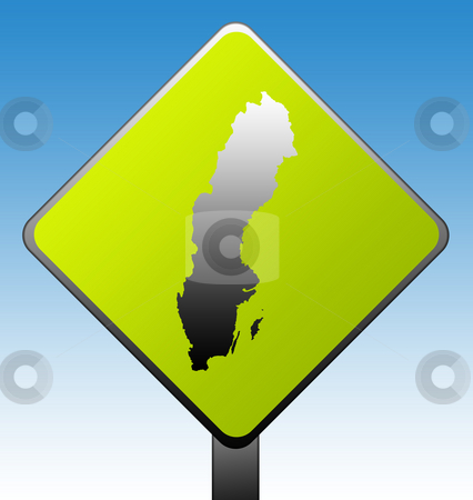 Sweden road sign stock photo, Sweden green diamond shaped road sign with gradient blue sky background. by Martin Crowdy