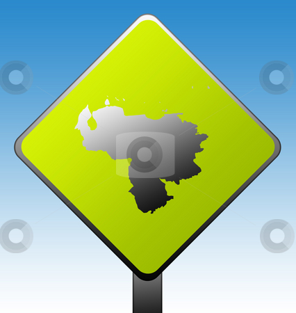 Venezuela road sign stock photo, Venezuela map on green diamond shaped road sign with gradient blue sky background. by Martin Crowdy